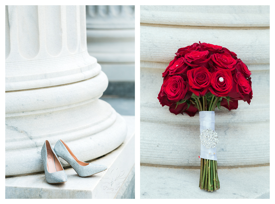 Photo of bride's wedding shoes and wedding bouquet taken by Rising Lotus Photography.