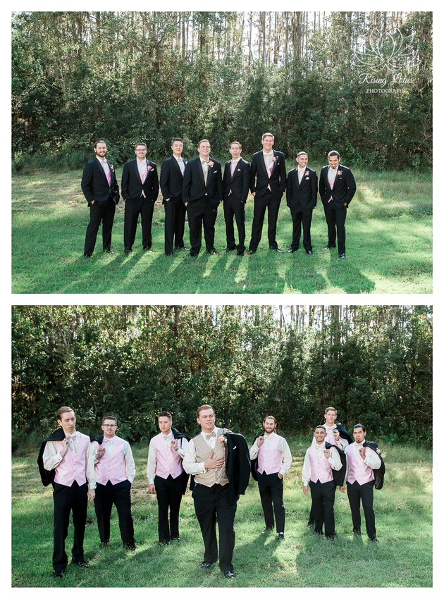 The groom and his groomsmen pose for photos in an open field.