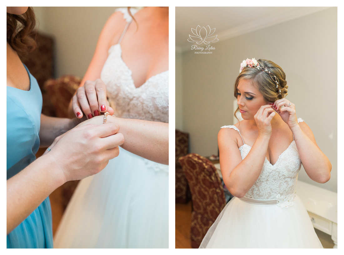 Photo of bride getting dressed for her wedding at Casa Lantana.