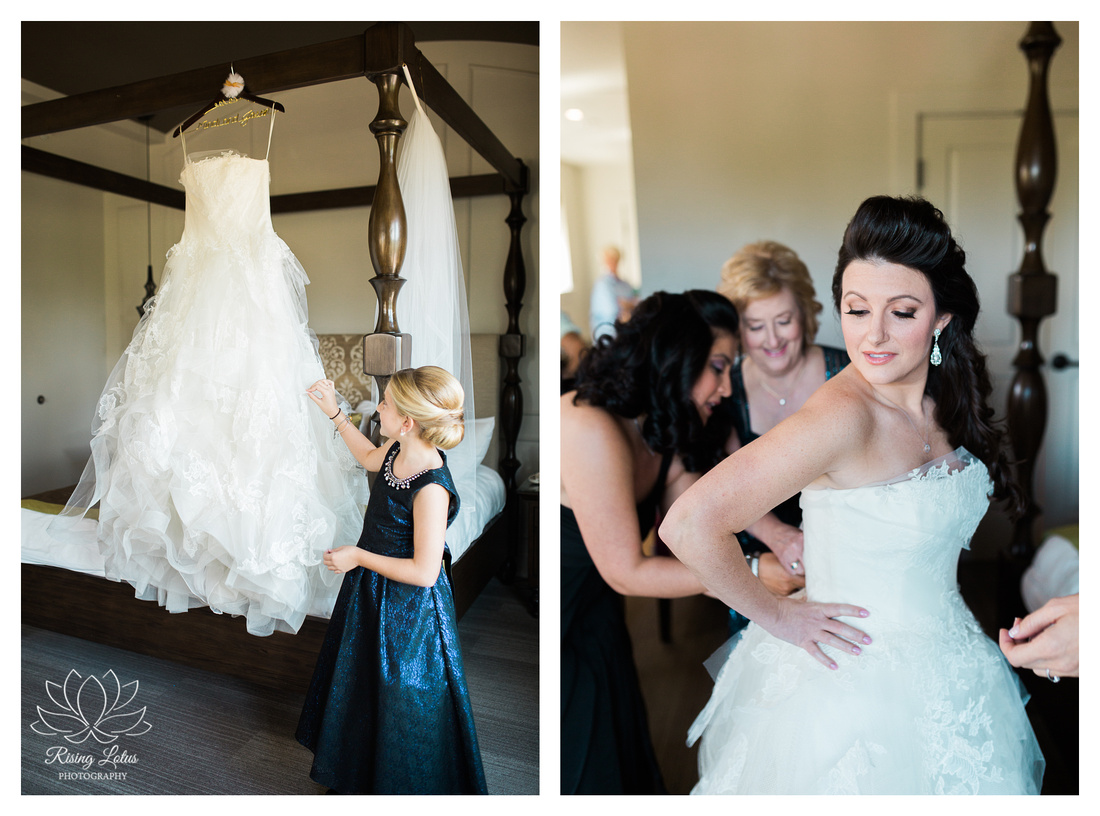 Pretty bride gets help putting on her Vera Wang dress at the Birchwood Hotel in St. Petersburg, Florida.