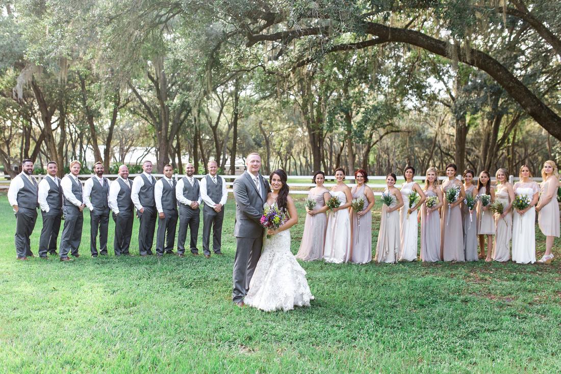 Tampa Wedding Venue, The Lange Farm. Bridal Party Photos. Bridesmaids and Groomsmen.