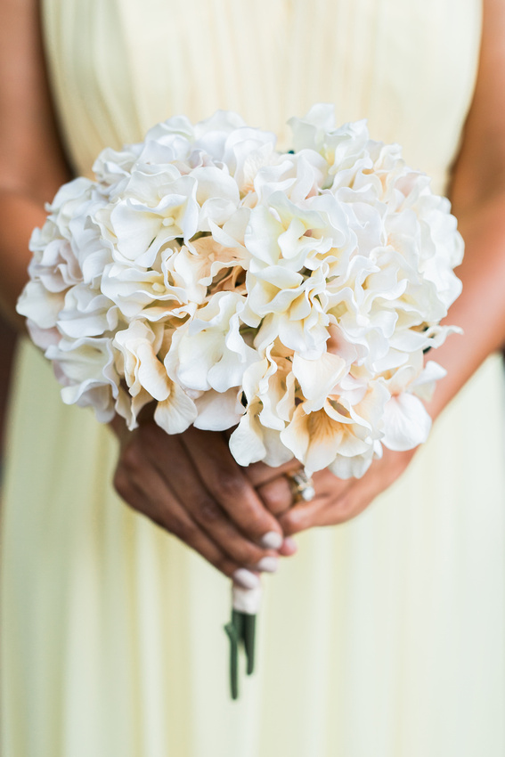 A simple bridesmaid bouquet made of hydrangea.