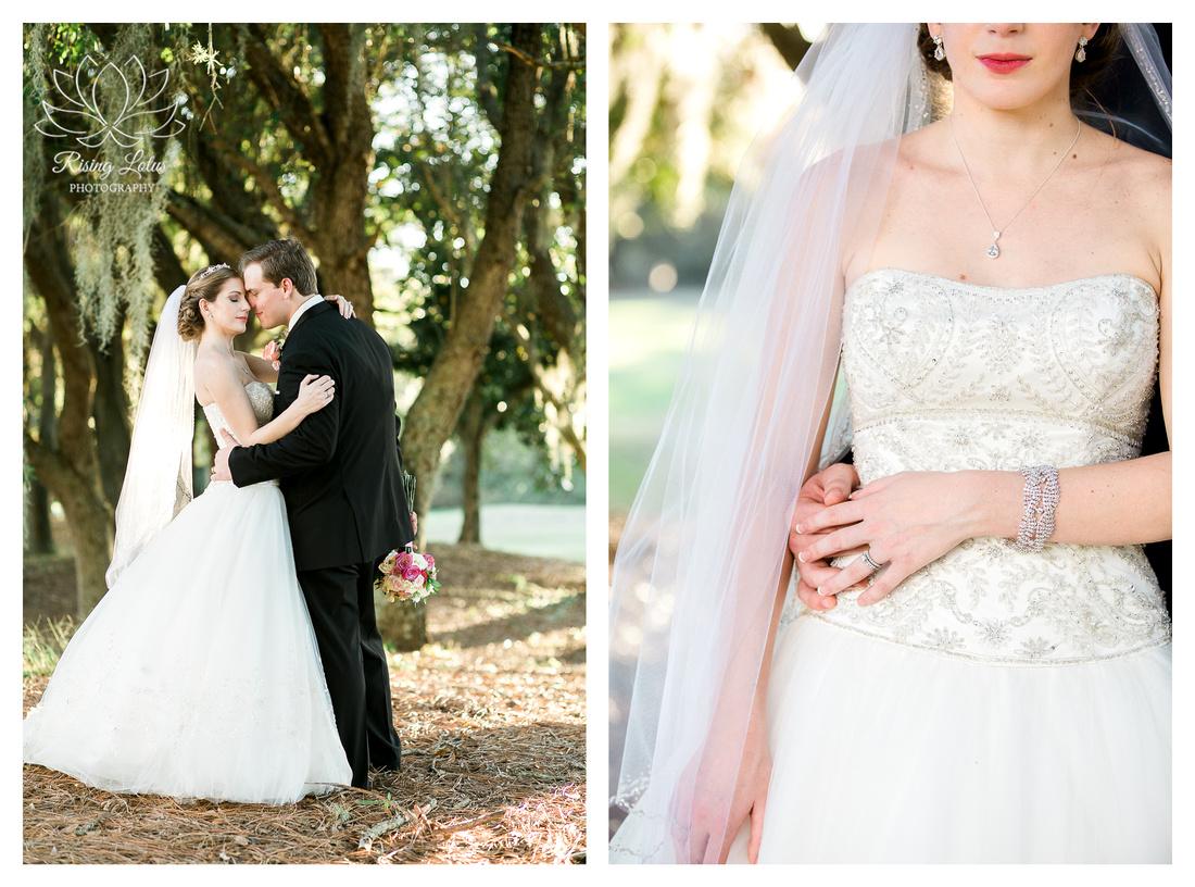 Bride and groom hug under a tree canopy.