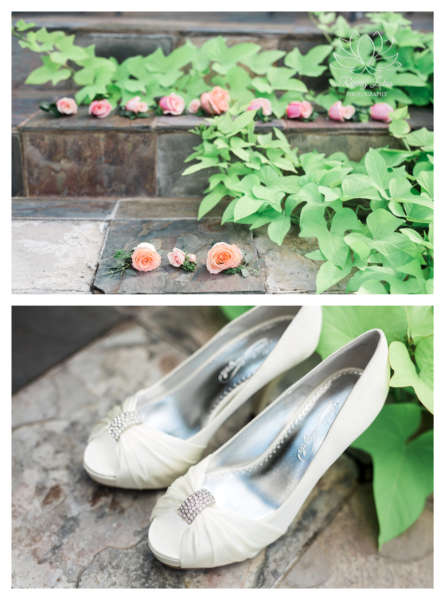 Detailed view of bridal shoes and the groom's boutonniere.