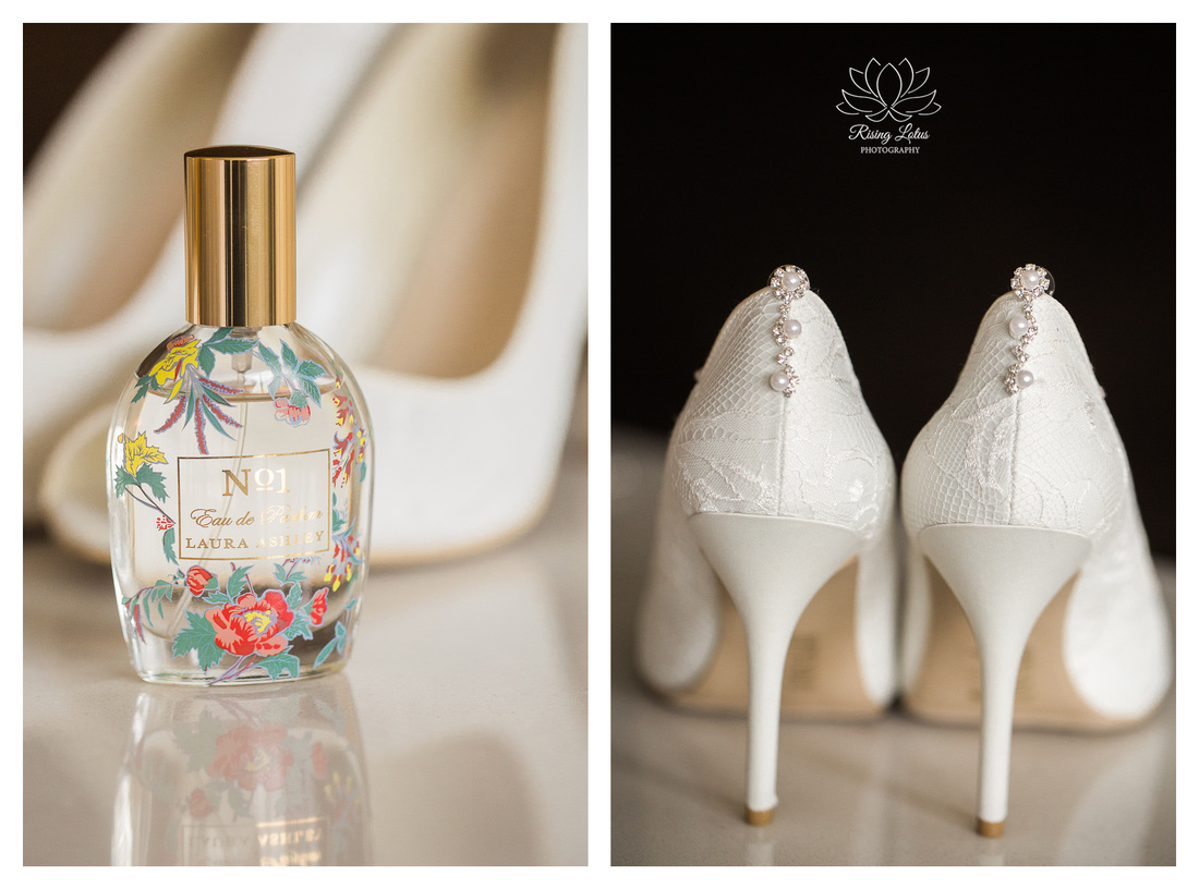 Closeup photo bride's Laura Ashley perfume and shoes.