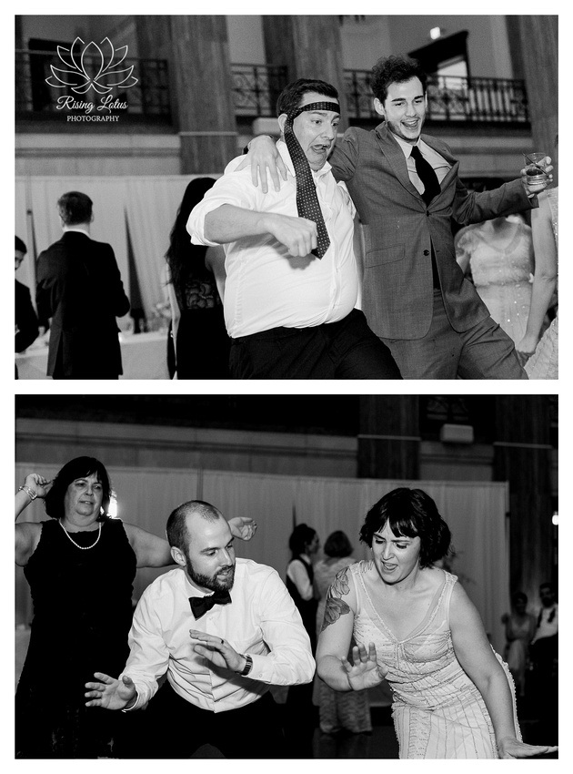 Wedding guests and the groom dance during wedding reception at 90 State Events.