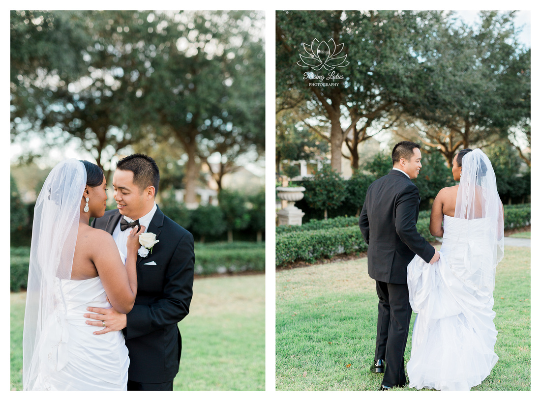 Newlyweds pose for photos in the garden of the Palmetto Club in Lithia, FL.