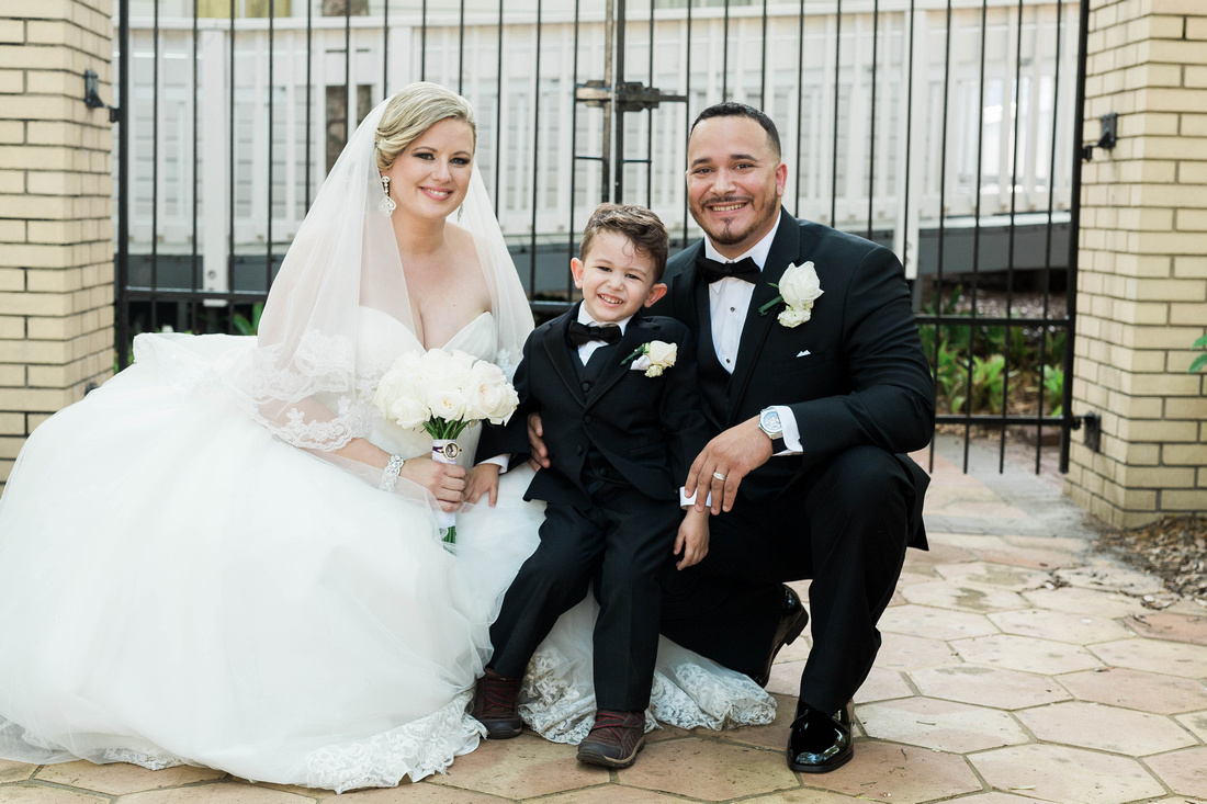 Family Photo. Tampa Wedding. Bride and Groom. Ybor City Museum Wedding