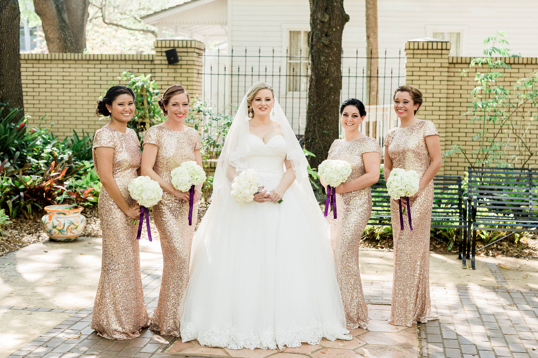 Bridal Party Photos. Tampa Wedding. Gold sequin bridesmaid dresses. Ybor City Museum Garden Wedding