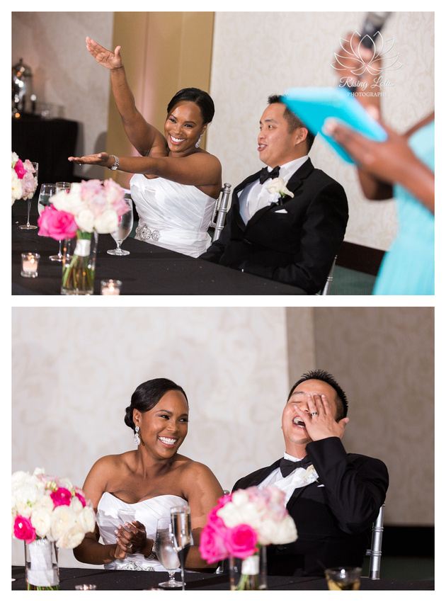 Newlyweds laugh while listening to the maid of honor's speech at the Palmetto Club in Lithia, FL.