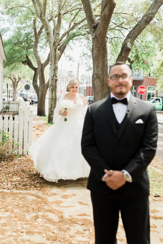 First Look. Tampa Wedding. Ybor City Museum Gardens Wedding. Bride and Groom.