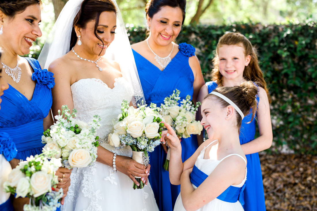 Bridal party pictures. Blue and white wedding. Tampa wedding photographer.