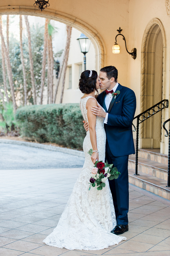 Bride and groom's first look on the wedding day at Powel Crosley Estate. Tampa Wedding Photographer.