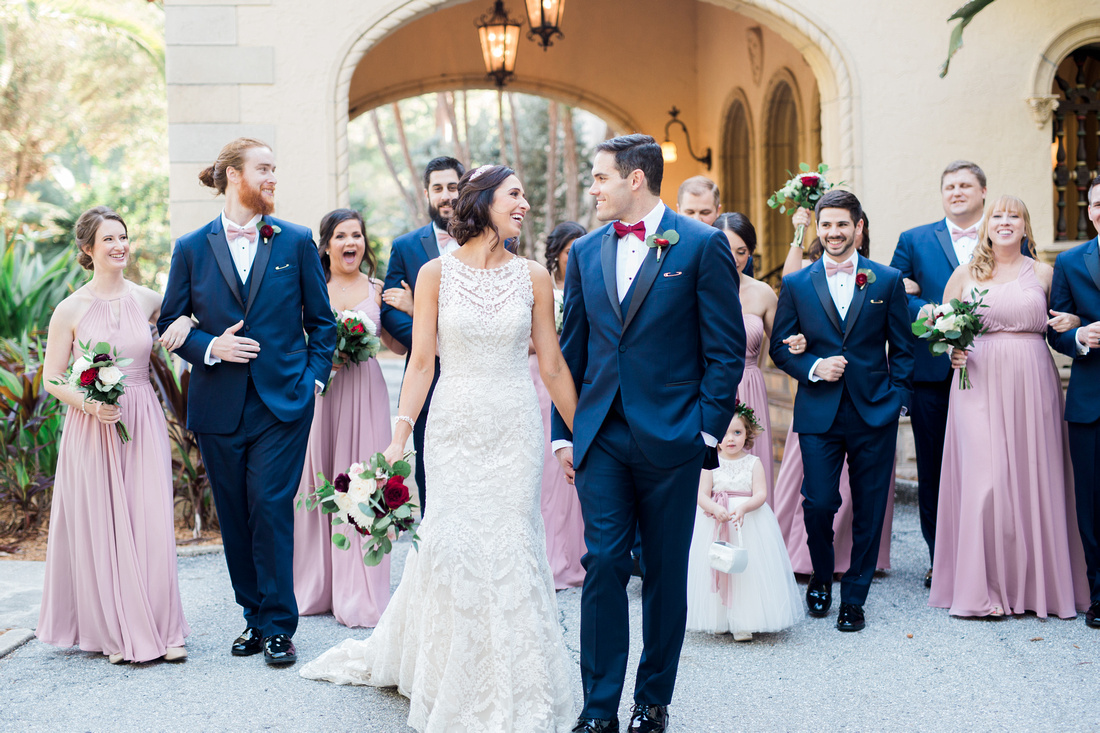 Bridal Party Photos. Groom & groomsmen in Navy. Bridesmaids in dusty pink. Tampa Wedding Venue, Powel Crosley Estate