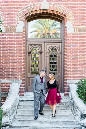 Engagement photos at University of Tampa, Engagement photographer, Rising Lotus Photography