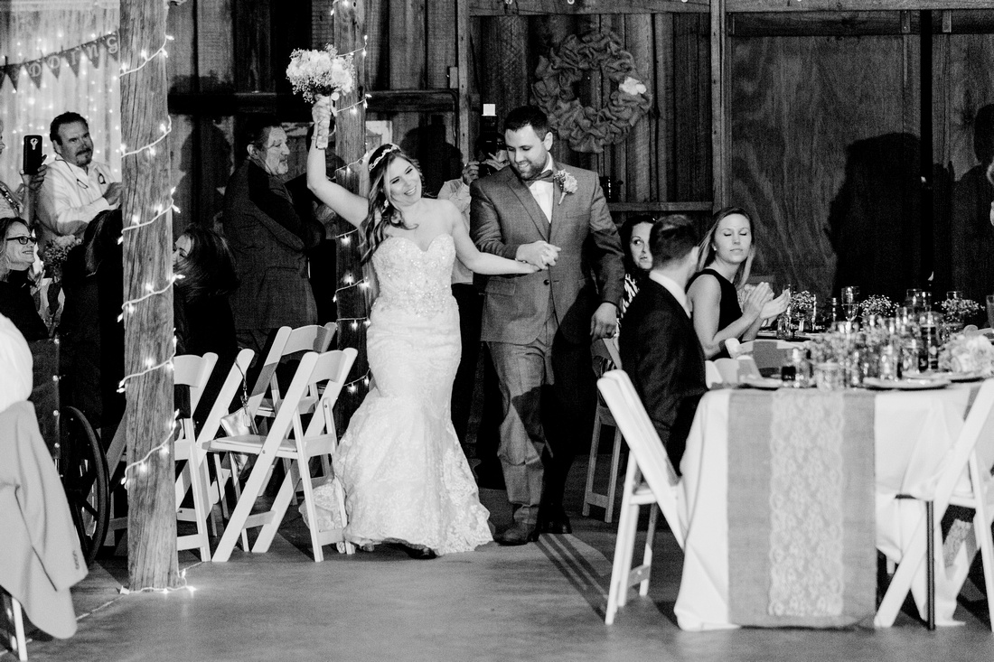 Wishing well barn reception- rustic, chic decor in blush and burlap.
