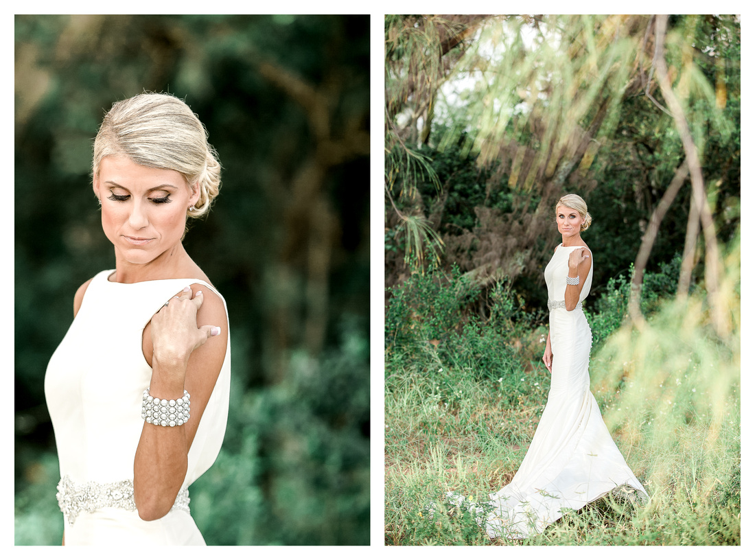 A bride posing for photos in grassy Fort De Soto.