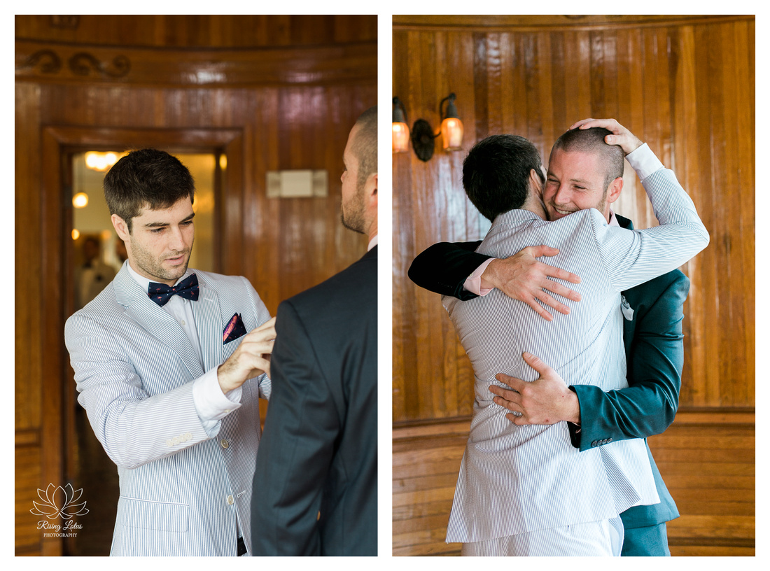 Dom and his brother hug it out in the Powel Crosley Estate's Ship Room prior to the wedding ceremony