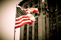 American Flag and Old Train Station- Detroit, Michigan