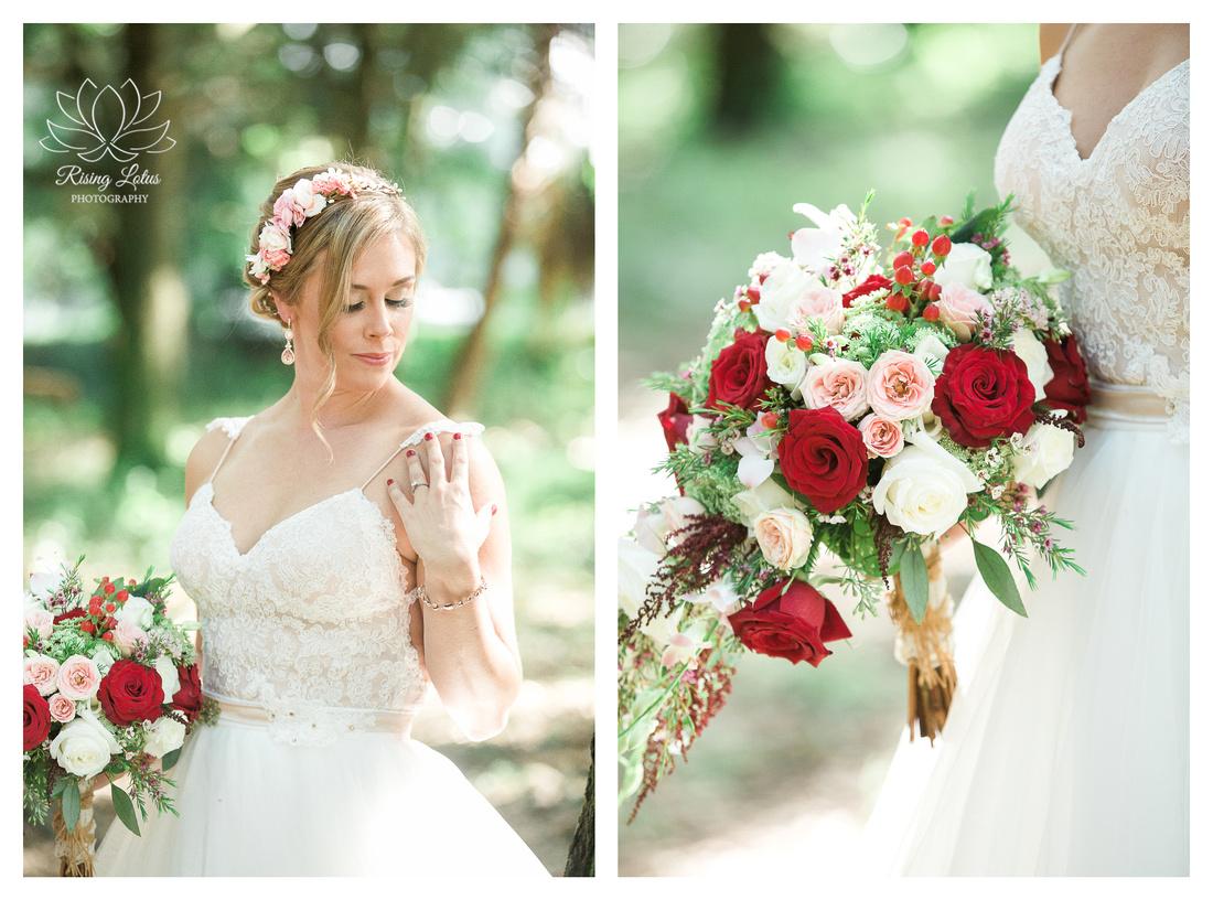 Photo of bride posing for portraits before her wedding at Casa Lantana in Brandon, FL.