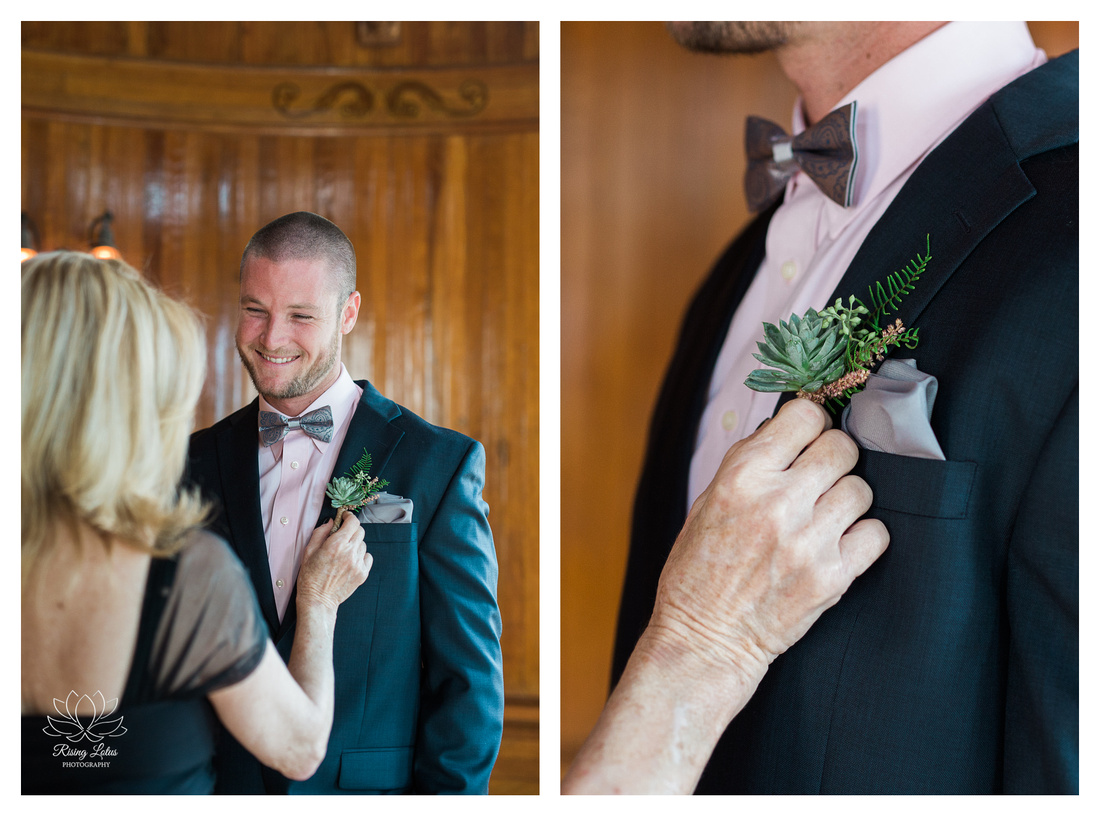 Dom has a cute moment with his mother before his wedding at the Powel Crosley Estate.