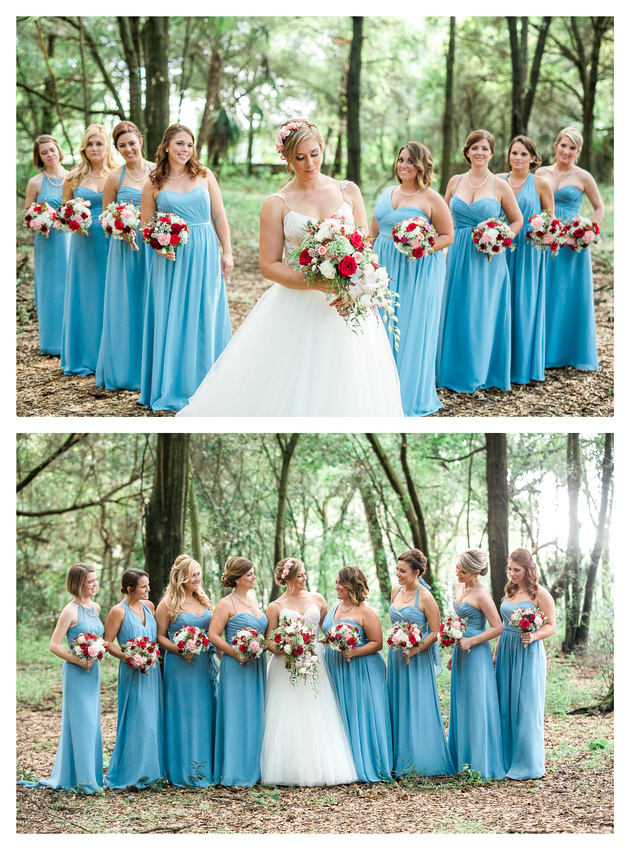 Photo of bride with her bridal party in the woods at Casa Lantana.