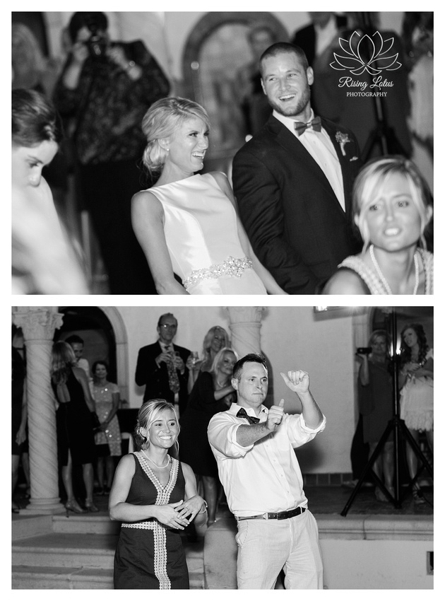 Rising Lotus Photography captured newlyweds and their guests dancing and having fun during the wedding reception.