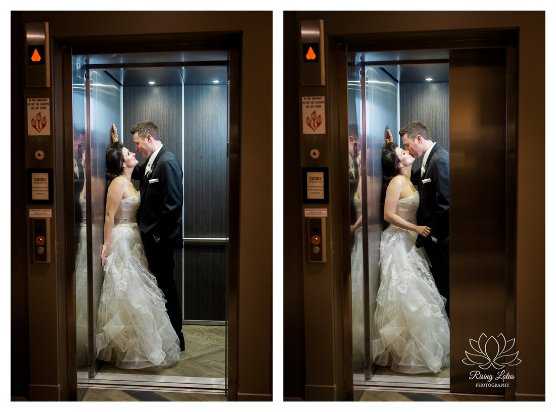 Newlyweds kiss in Birchwood Hotel elevator in St. Petersburg, Florida