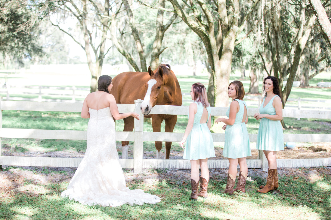 Bridal Party photos at Tampa Wedding Venue, The Lange Farm. Mint & grey wedding colors.