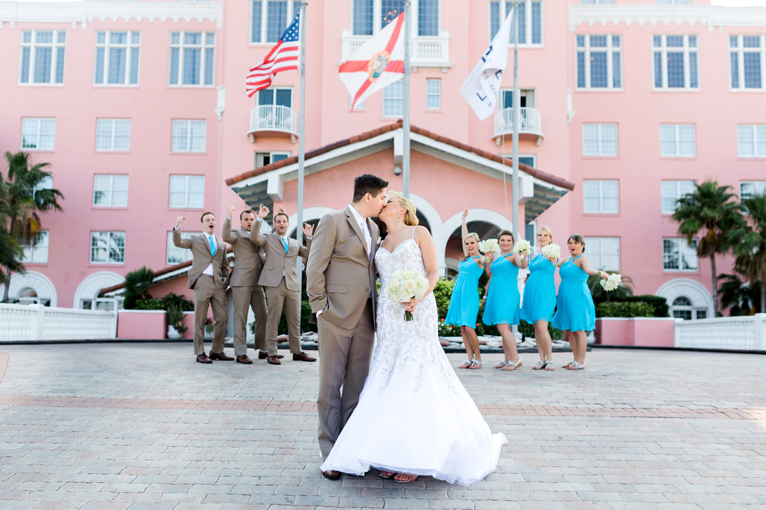 Bridal party pictures. Colorful beachside destination wedding in Tampa.