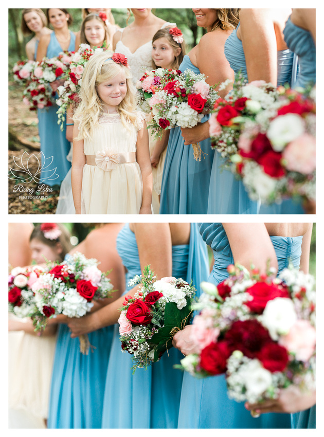 Photo of cute flower girl admiring the bridesmaids' floral bouquets.