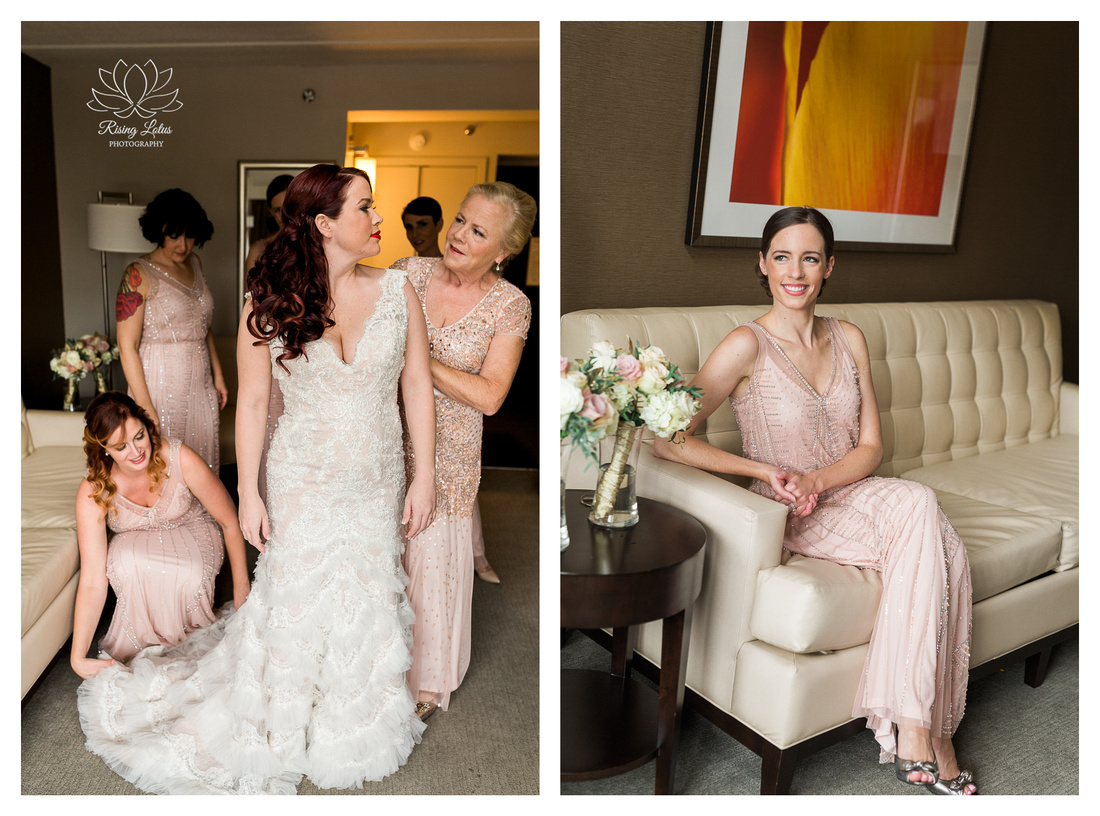 Cailen's bridesmaids help her get ready for her vow renewal in Albany, NY