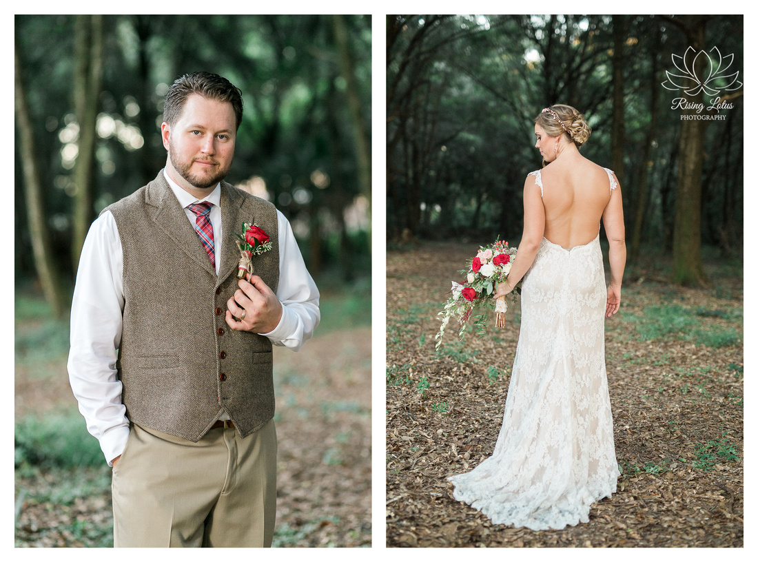 Photo of bride and groom posing for portraits in the Casa Lantana wooded area.