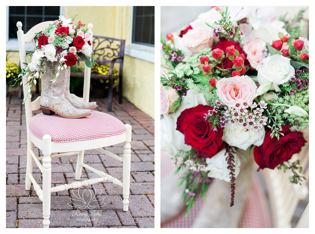 Photo of bride's boots with her bridal bouquet tucked into them.