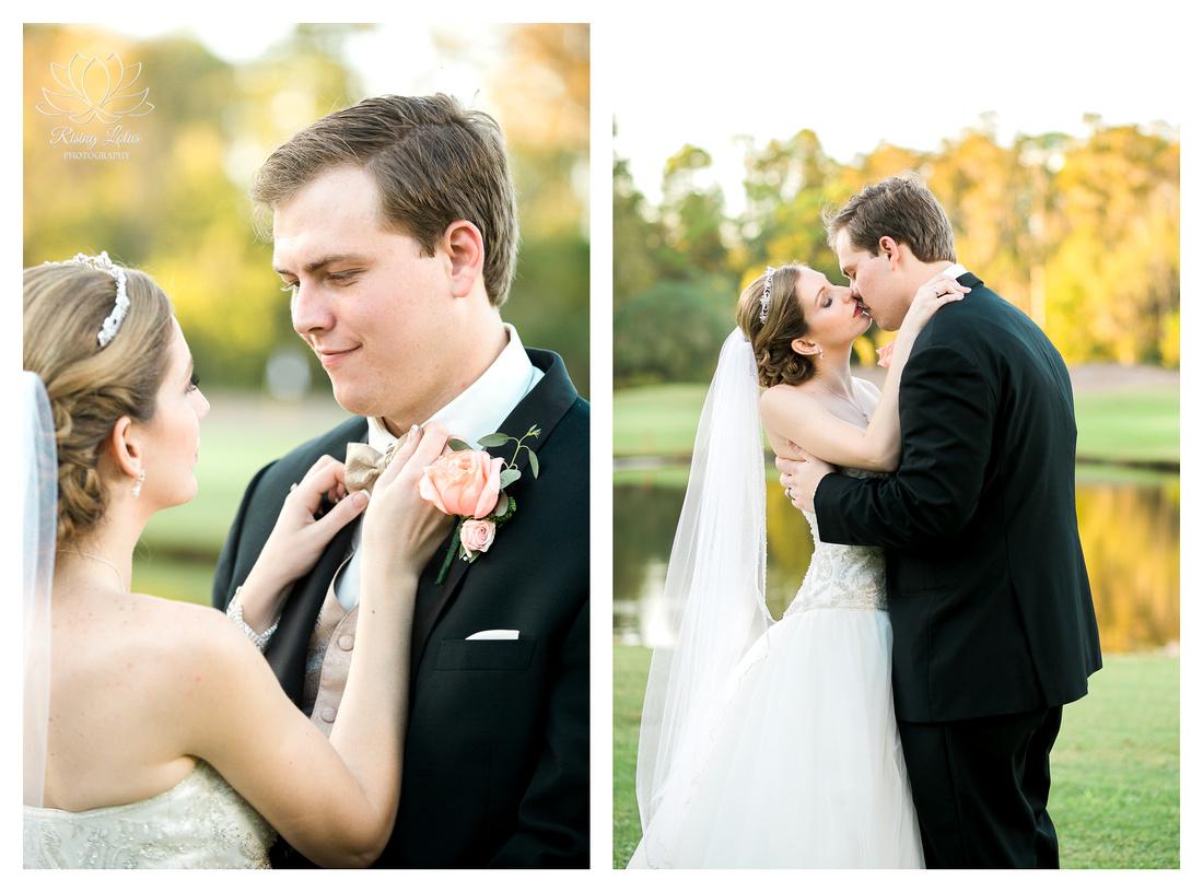 Newlyweds kiss near the lake at Wentworth golf club.