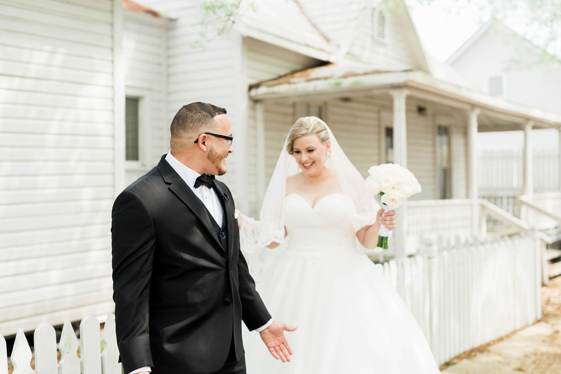 First Look. Tampa Wedding. Ybor City Museum Gardens Wedding. Bride and Groom.
