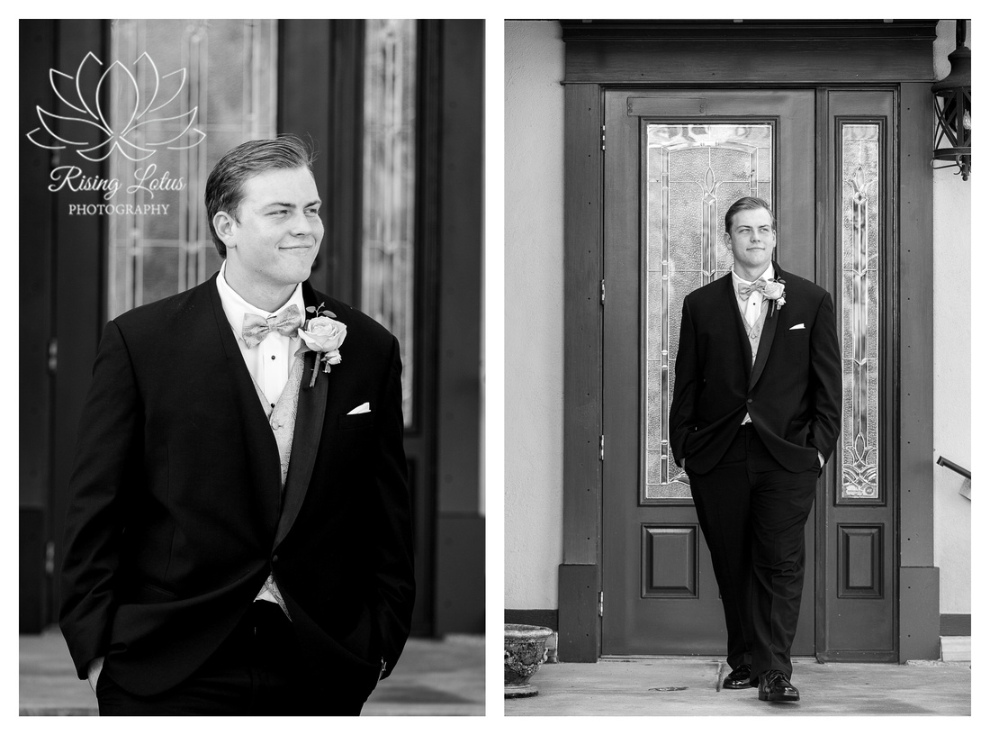 Groom poses for solo portraits on his wedding day.